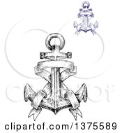 Black And White And Blue Sketched Anchors