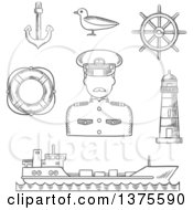 Clipart Of A Black And White Sketched Captain In White Uniform Helm Ship Anchor Lifebuoy Lighthouse And Seagull Royalty Free Vector Illustration