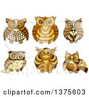 Clipart Of Brown Owls Royalty Free Vector Illustration