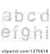 Black And White Lineart Floral Lowercase Alphabet Letters A B C D E F G H And I