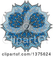 Clipart Of A Blue And White Kaleidoscope Flower Royalty Free Vector Illustration by Seamartini Graphics