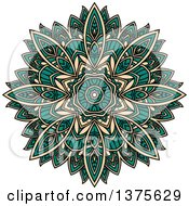 Clipart Of A Turquoise And Tan Kaleidoscope Flower Royalty Free Vector Illustration by Vector Tradition SM