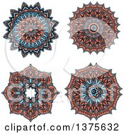 Clipart Of Blue And Salmon Pink Kaleidoscope Flowers Royalty Free Vector Illustration