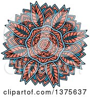 Clipart Of A Blue And Salmon Pink Kaleidoscope Flower Royalty Free Vector Illustration by Vector Tradition SM