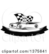 Clipart Of Black And White Race Cars And A Checkered Flag Over A Blank Banner Royalty Free Vector Illustration