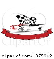 Clipart Of Race Cars And A Checkered Flag Over A Blank Banner Royalty Free Vector Illustration