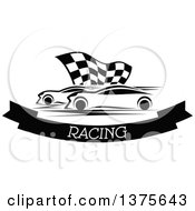 Black And White Race Cars And A Checkered Flag Over A Text Banner