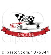 Clipart Of Race Cars And A Checkered Flag Over A Text Banner Royalty Free Vector Illustration