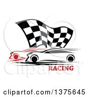 Clipart Of Race Cars And A Checkered Flag Over Text Royalty Free Vector Illustration