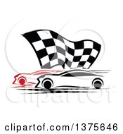 Clipart Of Race Cars And A Checkered Flag Royalty Free Vector Illustration