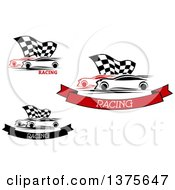 Clipart Of Race Cars And Checkered Flags With Text Royalty Free Vector Illustration