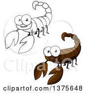 Clipart Of Happy Brown And Black And White Scorpions Royalty Free Vector Illustration by Vector Tradition SM