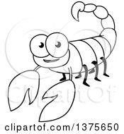 Clipart Of A Black And White Happy Scorpion Royalty Free Vector Illustration by Vector Tradition SM