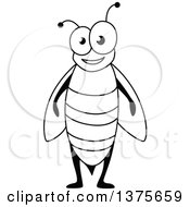 Clipart Of A Black And White Happy Bee Royalty Free Vector Illustration by Vector Tradition SM