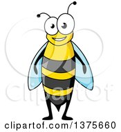 Clipart Of A Happy Bee Royalty Free Vector Illustration by Vector Tradition SM