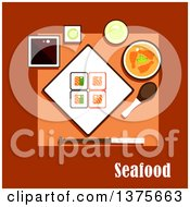 Clipart Of A Flat Design Seafood Dinner With Square Sushi Rolls With Salmon And Avocado Soy And Wasabi Sauces Shrimp Curry Soup Cup Of Green Tea And Chopsticks With Soup Spoon Royalty Free Vector Illustration