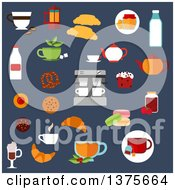 Clipart Of A Flat Design Croissants Cakes Coffee Machine And Teapots Milk Bottles Cookies Cups Of Hot Beverages Macaroons Honey And Jam Jars Pretzel On Blue Royalty Free Vector Illustration by Vector Tradition SM