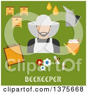 Clipart Of A Flat Design Beekeeper And Accessories With Text On Green Royalty Free Vector Illustration by Vector Tradition SM