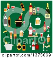 Clipart Of Flat Design Drinks Alcohol And Beverages With Wine Bottles Champagne Beer Whiskey Vodka Rum Gin And Liquor Cocktails Ice Buckets Shaker And Corkscrew On Green Royalty Free Vector Illustration by Vector Tradition SM