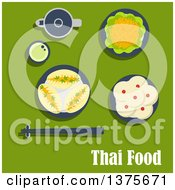 Clipart Of A Flat Design Thai Meal Of Lunch With Spicy Carrot Salad And Garlic Sauce Pies With Vegetables Puddings With Coconut Toppings Teapot With Cup Of Green Tea And Chopsticks On Rest On Green Royalty Free Vector Illustration