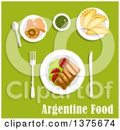 Clipart Of A Flat Design Meal Of Traditional Argentine Cuisine Icons With Asado Served With Grilled Beef Steak And Tomatoes On Lettuce Empanadas Dulce De Leche Milk Candy With Fresh Oranges And Cup Of Mate Tea Royalty Free Vector Illustration by Vector Tradition SM