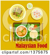 Clipart Of A Flat Design Malaysian Cuisine Dinner With Nasi Lemak Rice With Cucumber Carrot And Pepper Sticks And Fish Curry Served On Banana Leaf Beef Rendang Shrimp With Sesame Seeds And Green Tea On Yellow Royalty Free Vector Illustration