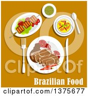 Poster, Art Print Of Flat Design Brazilian Cuisine With Feijoada Stew With Pork And Beans Served With Fresh Tomatoes And Chilli Pepper Grilled Picanha On Lettuce Creamy Pumpkin Soup With Shrimps And Mate Tea