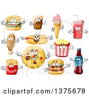 Clipart Of Fast Food Characters Royalty Free Vector Illustration