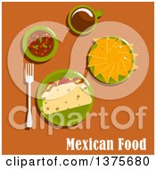 Clipart Of A Flat Design Mexican Meal Of Tacos With Fried Pork Tomato And Lettuce On Corn Tortillas Nachos Spicy Salsa Sauce And Cup Of Coffee On Orange Royalty Free Vector Illustration