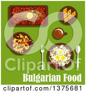 Clipart Of Flat Design Bulgarian Cuisine With Vegetarian Salad With Tomato Onion Mushroom Pepper Haricot Beans And Eggs Spicy Stew Baked Carp With Vegetables Baklava With Nuts And Drink Royalty Free Vector Illustration by Vector Tradition SM