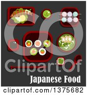 Clipart Of A Flat Design Japanese Meal Of Sushi Rolls And Salmon Avocado And Red Caviar Soy And Wasabi Sauces Grilled Fish With Lemon And Cucumber Green Tea Soup With Mushrooms And Dango Dumpling With Drink Royalty Free Vector Illustration by Vector Tradition SM