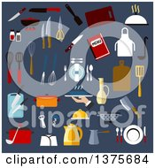 Clipart Of Kitchen Utensil And Dishware Icons Of Chef Hat Pots Knives Cutting Boards Forks Spoons Ladles Spatulas Whisks Kettle Plates Trays Coffee Pot And Apron Menu Jug Colander Pepper And Salt Shakers Corkscrew And Scissors On Blue