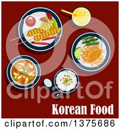 Clipart Of A Flat Design Korean Meal Of With Rice Seafood Soup With Shrimp And Vegetables Marinated Shrimp On Spicy Carrot Salad With Lemon And Seaweed Bulgogi Skewers Served With Chilli Peppers Tomatoes Sauce And Fresh Juice On Red Royalty Free