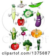 Clipart Of Vegetable Characters Royalty Free Vector Illustration