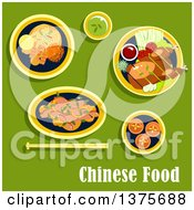 Clipart Of Flat Design Chinese Food With Asian Dinner Including Beijing Duck Served On Lettuce With Tomatoes Cucumbers Green Onion And Sauce Noodles With Shrimps Lemon And Vegetables Salad With Beans Egg Custard Tarts Cup Of Green Tea On Green