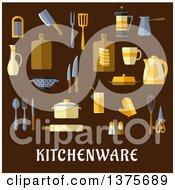 Clipart Of Flat Design Kitchen Items Over Text On Brown Royalty Free Vector Illustration