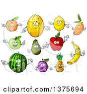 Clipart Of Fruit Characters Royalty Free Vector Illustration
