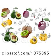 Clipart Of Faces Hands Kiwis Apricots Plums And Avocados Royalty Free Vector Illustration