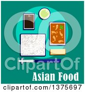 Poster, Art Print Of Flat Design Korean Meal Of Shrimp And Vegetables In Spicy Sauce Rice With Chopsticks Soy Dipping Sauce Green Tea And Wheat Bread