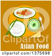 Clipart Of Flat Design Meal Of Sticky Rice Crispy Fried Whole Fish In Spicy Lemon Sauce And Thai Green Curry Over Asian Food Text On Orange Royalty Free Vector Illustration