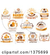 Clipart Of Bakery Designs With Text Royalty Free Vector Illustration