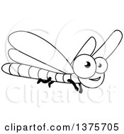 Clipart Of A Black And White Happy Dragonfly Royalty Free Vector Illustration by Vector Tradition SM