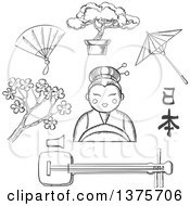 Clipart Of A Sketched Cherry Blossom Fan Bonsai Umbrella And Calligraphy Around A Geisha Girl Royalty Free Vector Illustration by Vector Tradition SM