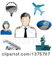 Clipart Of A Sketched Pilot Surrounded By Stewardess Airplane Flight Helmet Peaked Cap Airport Building And Aircraft Steps Royalty Free Vector Illustration by Vector Tradition SM