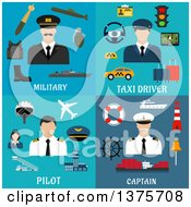 Clipart Of Flat Military Taxi Drover Pilot And Captain Designs Royalty Free Vector Illustration