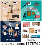 Clipart Of Flat Logistics Designs Royalty Free Vector Illustration