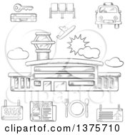 Grayscale Sketched Airport Taxi Ticket Waiting Baggage Currency Exchange And Service Icons