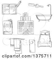 Clipart Of Grayscale Sketched Hotel Service Icons As Bed Room Key Not Disturb Sign Towels Bathroom Hotel Building Passport And Notebook Royalty Free Vector Illustration