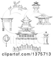 Clipart Of A Grayscale Sketched Japanese Pagoda Surrounded By Blossoming Branch Of Sakura Torii Gate Paper Lantern Temple And Bridge Royalty Free Vector Illustration