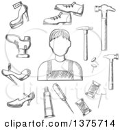 Clipart Of A Black And White Sketched Shoemaker With Awl Heels Hammer Glue Nails And Shoes Royalty Free Vector Illustration